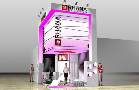 Стенд клиники «RHANA» выставка «Интершарм», 2007,  Дизайн ООО «Грата Продакшн